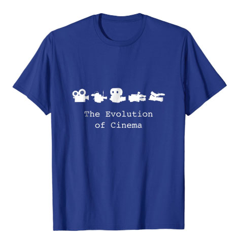 the evolution of cinema film t-shirt