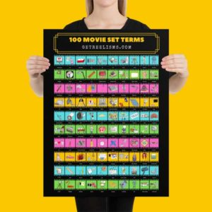 100 Movie Set Terms Poster Gift for Aspiring Filmmaker